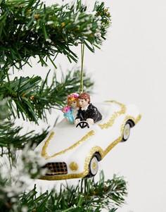 Новогоднее елочное украшение в виде фигурки свадебной машины Sass & Belle-Мульти