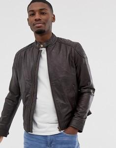 Коричневая кожаная куртка со стеганой отделкой Barneys Originals-Черный