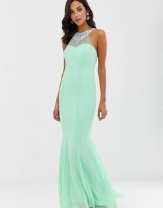 Платье макси с высоким воротом City Goddess-Зеленый