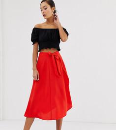 Красная юбка миди с запахом Monki-Красный