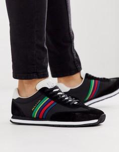 Черные кожаные кроссовки с полосами PS Paul Smith-Черный