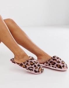 Розовые меховые слиперы с леопардовым принтом ASOS DESIGN Zabie-Мульти
