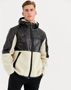 Черно-бежевая куртка из флиса и нейлона River Island-Светло-коричневый