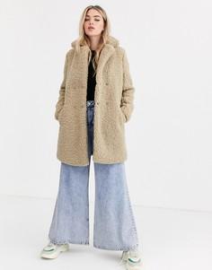 Бежевое плюшевое пальто Noisy May-Кремовый