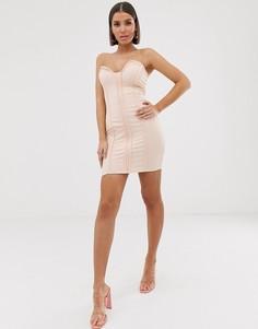 Облегающее платье-бандо мини цвета шампань Missguided-Бежевый