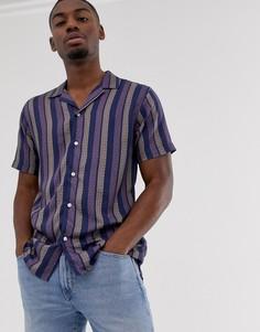 Темно-синяя рубашка в полоску с короткими рукавами и отложным воротником Selected Homme-Темно-синий