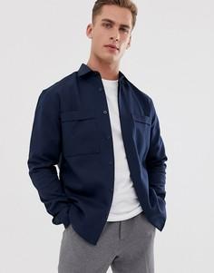 Темно-синяя рубашка с нагрудным карманом Selected Homme-Темно-синий