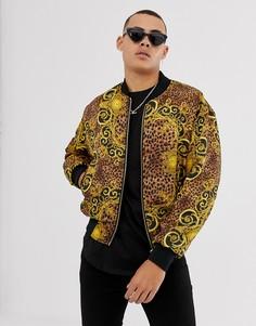 Двусторонняя куртка с принтом в стиле барокко Versace Jeans Couture-Золотой