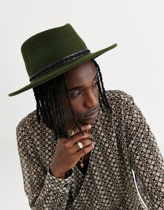 Широкополая шляпа с лентой из тисненой искусственной кожи ASOS DESIGN-Зеленый
