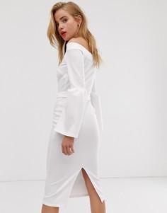 Облегающее платье с широким вырезом, пышными манжетами и поясом True Violet-Белый