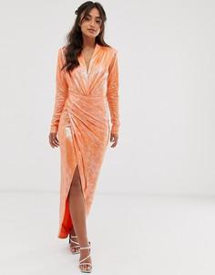 Оранжевое платье макси с запахом и эффектом змеиной кожи John Zack-Оранжевый