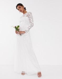 Свадебное сетчатое платье с цветочной вышивкой ASOS EDITION-Белый