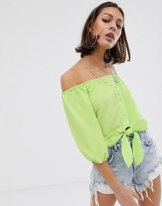 Зеленая блузка с открытыми плечами Bershka-Зеленый