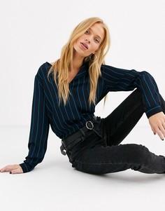 Блузка в тонкую полоску Selected-Темно-синий
