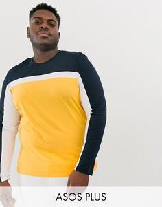 Желтая футболка с длинным рукавом и контрастными вставками ASOS DESIGN Plus-Желтый