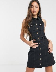 Черное джинсовое платье мини с карманами River Island-Черный