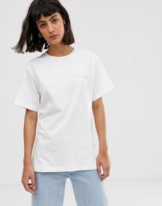 Свободная футболка с принтом на спине и логотипом M.C. Overalls-Белый