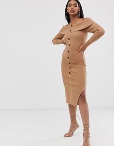 Платье миди с открытыми плечами и пуговицами ASOS DESIGN-Светло-бежевый