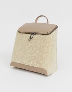 Квадратный рюкзак с искусственным мехом Chateau-Светло-коричневый