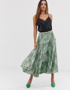 Атласная плиссированная юбка миди со змеиным принтом ASOS DESIGN-Мульти