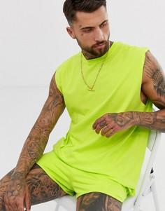Зеленая удлиненная oversize-футболка без рукавов ASOS DESIGN-Зеленый
