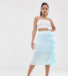 Эксклюзивная голубая атласная юбка миди с разрезом сбоку Missguided Petite-Синий