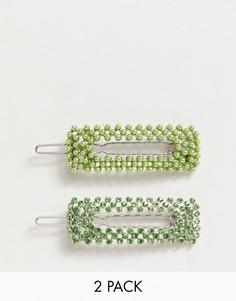Набор заколок для волос с зелеными жемчужинами и кристаллами ASOS DESIGN - 2 шт.-Серебряный