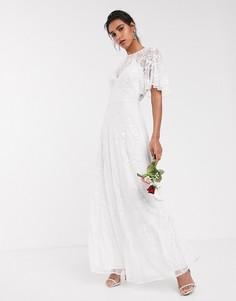 Свадебное платье с рукавами клеш, вышивкой и бусинами ASOS EDITION-Белый