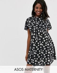 Платье мини с запахом и цветочным принтом ASOS DESIGN Maternity Nursing-Мульти