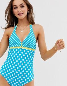 Слитный купальник с чашечками на косточках и завязкой на шее Pour Moi Starboard-Синий