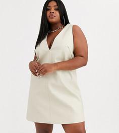 Структурированное платье мини из искусственной кожи UNIQUE21 Hero Plus-Кремовый