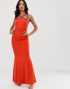 Платье макси с вышивкой бисером Little Mistress-Оранжевый
