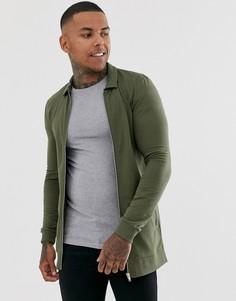 Облегающая трикотажная длинная куртка Харрингтон цвета хаки ASOS DESIGN-Зеленый