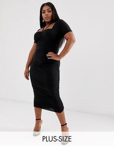 Черное присборенное платье миди с бретелью через шею Club L London Plus-Черный