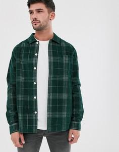 Зеленая вельветовая рубашка навыпуск в клетку Farah Croft-Зеленый