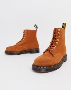 Светло-коричневые замшевые ботинки с 8 парами люверсов Dr Martens 1460 Pascal-Светло-коричневый