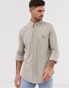 Бежевая меланжевая рубашка из пике приталенного кроя с логотипом Polo Ralph Lauren-Бежевый