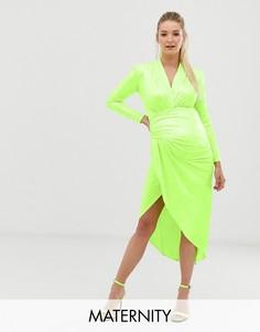 Зеленое платье макси с запахом и змеиным принтом Queen Bee-Зеленый