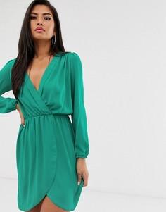 Платье с запахом и длинными рукавами Love-Зеленый