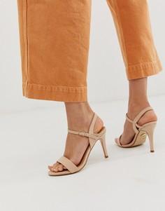Кремовые босоножки на каблуке Buffalo-Светло-коричневый