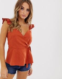 Топ с на бретелях с запахом из смесовой льняной ткани ASOS DESIGN-Оранжевый