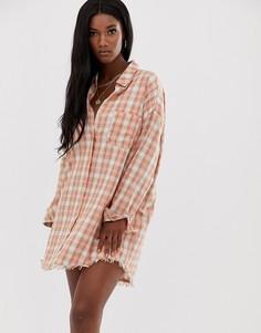 Клетчатое платье-рубашка в стиле oversize Missguided-Розовый