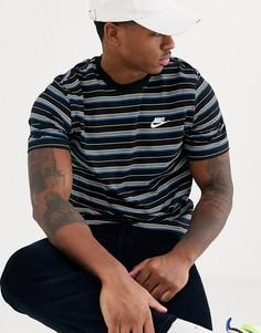 Черная футболка в полоску Nike-Черный