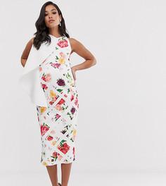 Платье-футляр миди на одно плечо с оборками True Violet Maternity-Мульти
