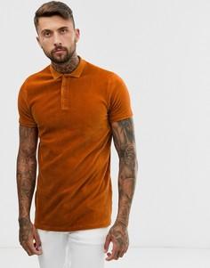 Велюровая футболка-поло удлиненного кроя рыжего цвета ASOS DESIGN-Оранжевый