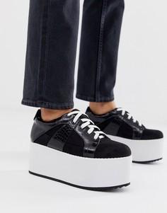 Черные кроссовки на платформе и шнуровке Lost Ink-Черный