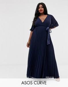 Платье макси с рукавами-кимоно и завязкой на талии ASOS DESIGN Curve-Мульти