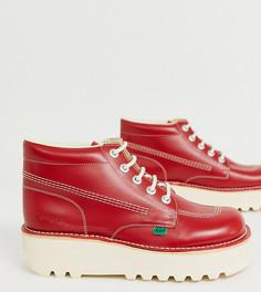 Красные кожаные ботинки на толстой платформе Kickers-Красный