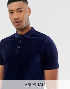 Длинная темно-синяя футболка-поло из велюра в рубчик ASOS DESIGN Tall-Темно-синий