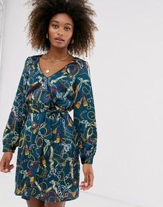 Платье с запахом и цветочным принтом Vila-Мульти